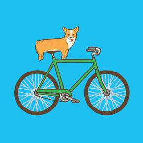 threadless corgi on a bike