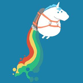 threadless fat unicorn on a rainbow jetpack